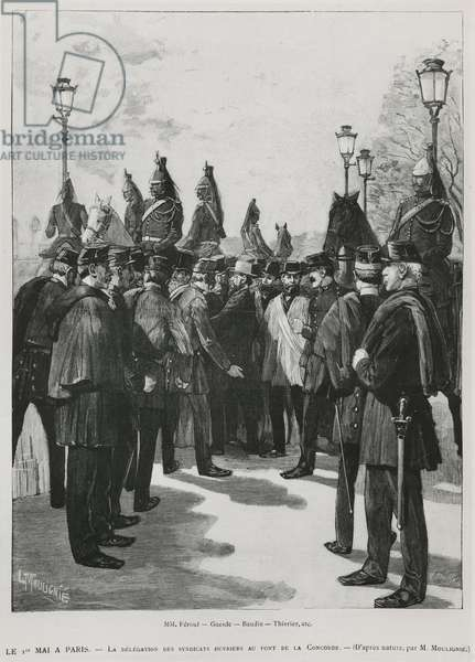 The Delegation of the Trade Unions at Pont de la Concorde during the Demonstration for the 1st May in Paris, 1st May 1890, engraved by L. Moulignie, rengraving) (b/w photo)