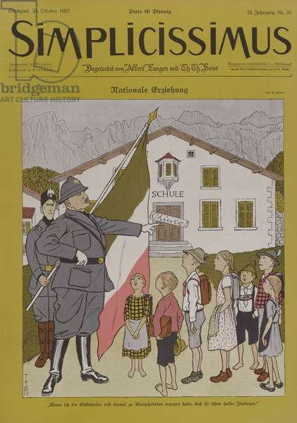 Mussolini (1883-1945) and the Italian Tyrol, cartoon from 'Simplicissimus' magazine, 24th October 1924 (colour litho)