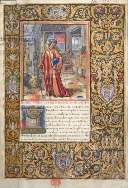 Ms. 1581 f. 001 Flavius Josephus in his study, illustration for the Prologue of the 'Antiquities of the Jews' ('Antiquitates Judaicae') by Flavius Josephus, c.1503 (vellum)