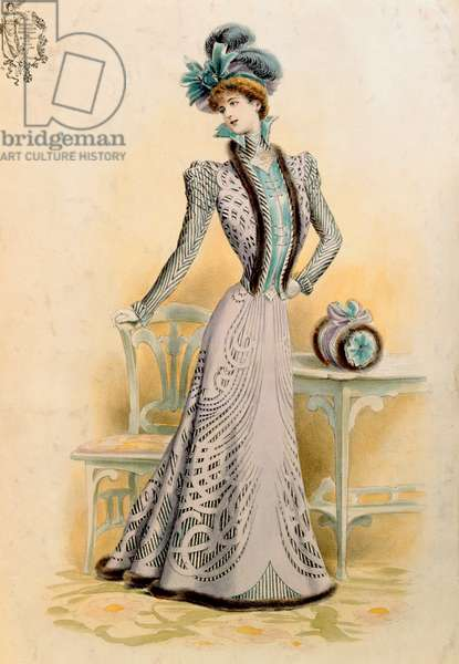 French fashion, 1899 (coloured engraving)