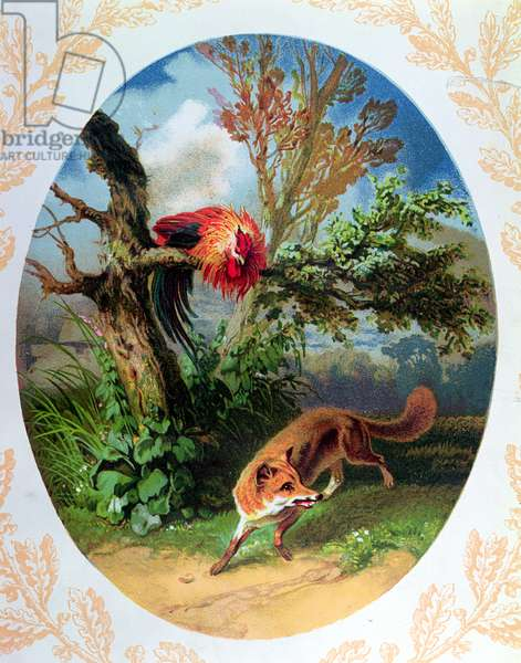 The Cockerel and the Fox, illustration after the fable by Jean de la Fontaine (1621-95) c.1860-80 (coloured engraving)