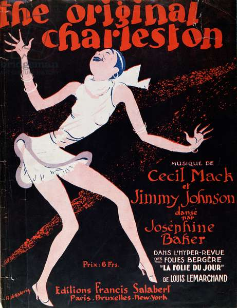 Josephine Baker (1906-75) dancing the Charleston, poster advertising a show at the Folies Bergere, 1923 (colour litho)