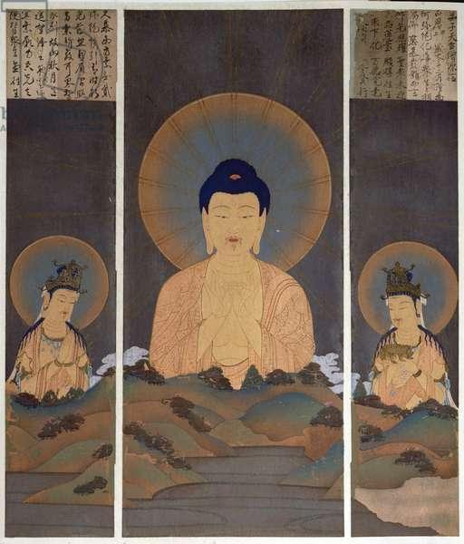 Apparition of the Buddhist Trinity, Buddha Amitabha and his two Bodhisattvas, Kannon (Compassion) & Seishi (Wisdom) on the mountain, illustration from the magazine 'Kokka', January 1909 (colour litho)