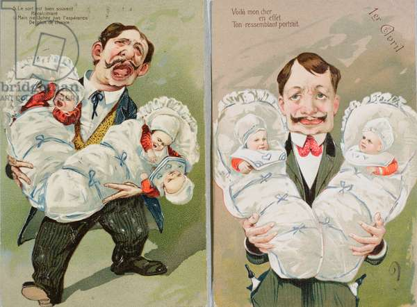 Humorous postcards depicting the father of twins and the father of quadruplets, 1906 (colour litho)