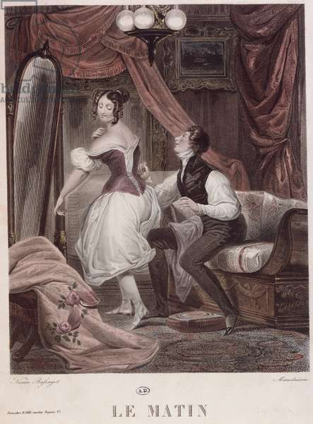 Morning, engraved by Leon Mauduison, from the book 'Le Corset', pub. by Mirel, c.1824-30 (coloured engraving)