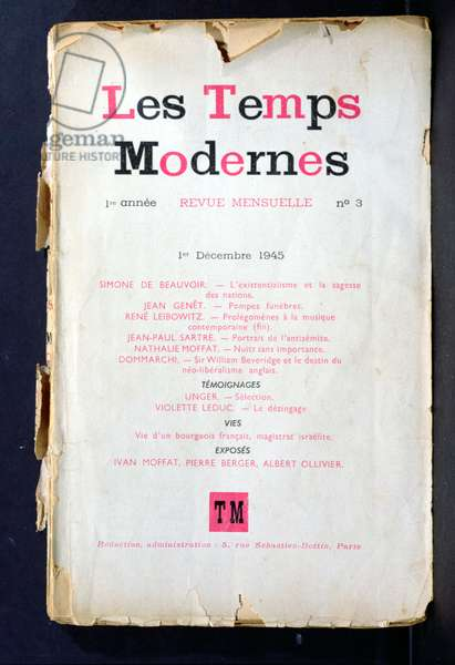 Issue 3 of Sartre's magazine 'Les Temps Modernes', 1st December 1945 (colour litho)