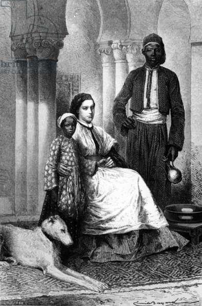Miss Tinne in her Cairo Home, illustration from 'Le Tour du Monde', 1871 (litho)