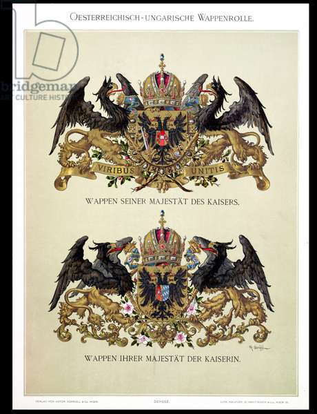 Plate with the coats of arms of Emperor Franz Joseph I (1830-1916) and Empress Elizabeth of Bavaria (1837-98) from 'Heraldischer Atlas' by the artist, 1899 (colour litho)