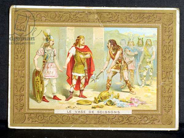 Clovis (465-511) and the Frankish warrior who broke the Vase of Soissons in 486, early 20th century (colour litho)