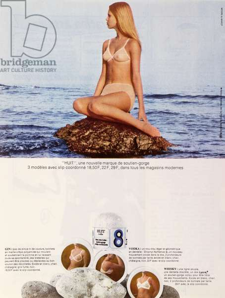 Advertisement for 'Huit' bras, c.1970 (colour litho)