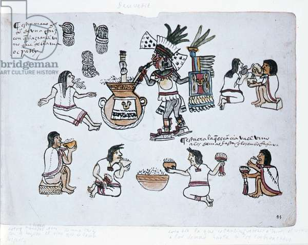 Aztec Pulque Deity blowing on a tube above a jar of pulque and men drinking pulque, illustration from the Codex Magliabechiano (vellum)