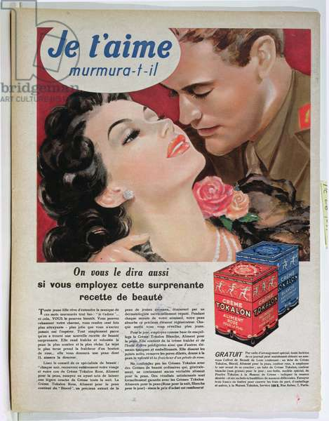 Advertisement for 'Tokalon' beauty cream, from 'Marie-Claire', April 1940 (colour litho)