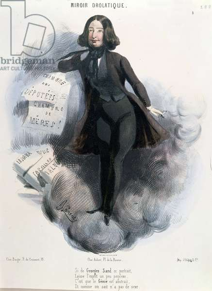 Caricature of George Sand (1804-76) c.1848 (colour litho)