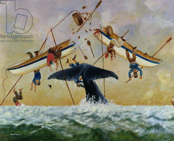 Whale knocking fishermen out of the water (oil on canvas)