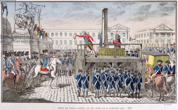 Execution of Louis XVI (1754-93) 21st January 1793 (coloured engraving)