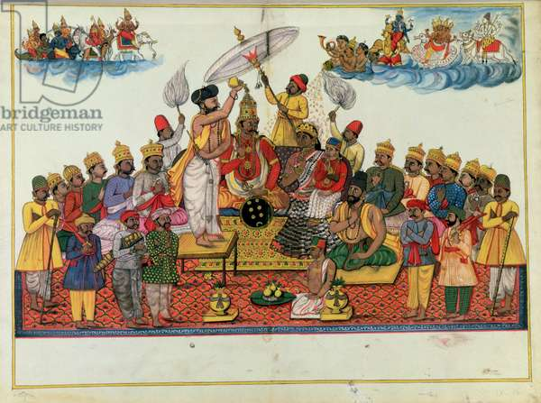 Indra, king of the gods, being anointed with soma (gouache on paper)