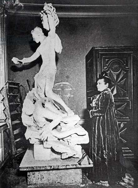 Camille Claudel (1864-1943) in her Studio with the Plaster Cast of 'Perseus', c. 1902, from 'Camille Claudel' by Reine Marie Paris, NRF Gallimard, Paris (b/w photo)