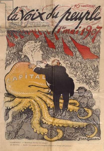 Cover of 'La Voix du Peuple', Organ of the 'Confederation Generale du Travail', 1st May 1907 (colour litho)