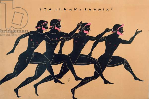 A Race in Ancient Greece (colour litho)