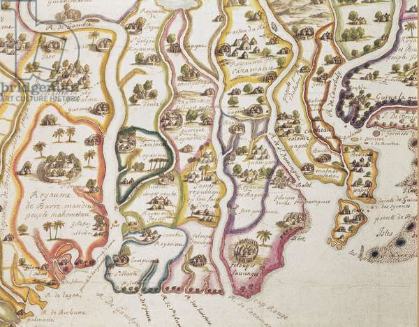 Map of the Coast of Africa and the River Gambia, 1622 (coloured engraving)