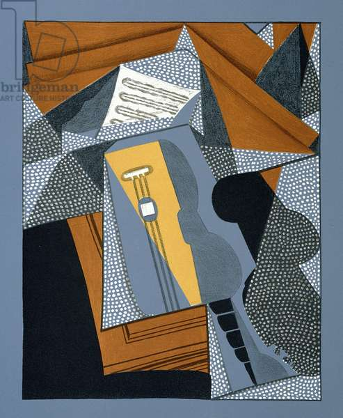 The Guitar, illustration for the poem 'Au soleil du plafond', by Pierre Reverdy (1889-1960) 1955 (colour litho)