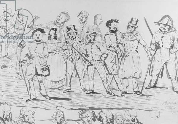 Honore de Balzac (1799-1850) along with the characters of 'La Comedie Humaine', 1838 (pen & ink on paper) (b/w photo)