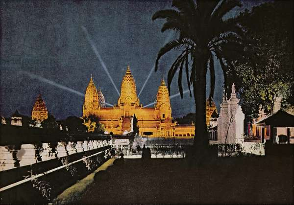 The reconstructed Temple of Angkor during an evening light show at the International Overseas Exhibition in Paris, 1931