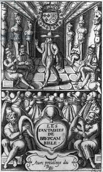 Title page from 'Les Fantaisies de Bruscambille', published 1615 (engraving) (b/w photo)