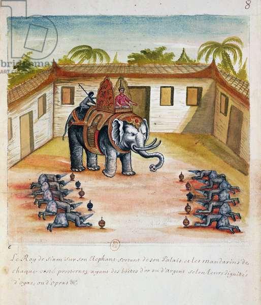 The King of Siam on his Elephant, from an account of the Jesuits in Siam, 1688 (w/c on paper)