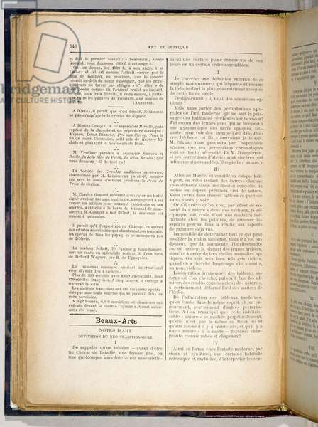 Article in 'Art et Critique' announcing the essential definition of the artistic philosophy of the 'Nabis', 23rd August, 1890 (printed paper)