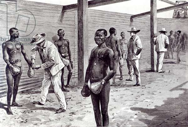 Shackling of Black Miners hands during a break, in a diamond mine in Cape Town (engraving) (b/w photo)