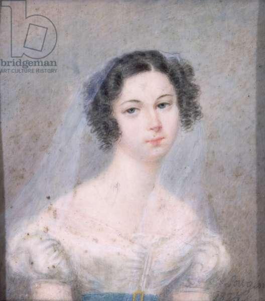Miniature of Evelina Hanska (1801-82) 1825 (w/c)