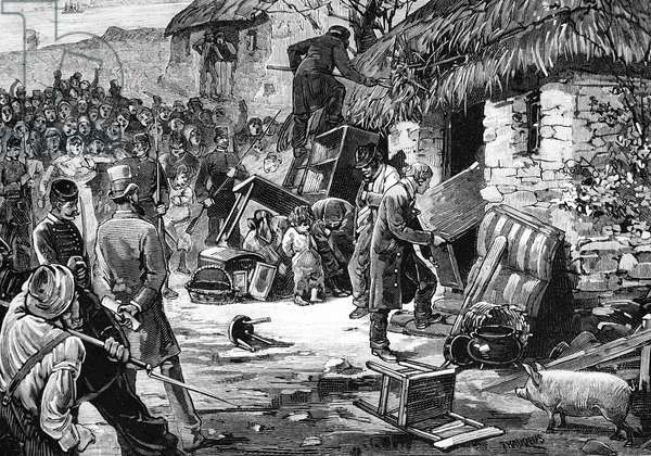 Troubles in Ireland - The Eviction of a Farmer, from 'Le Monde Illustré', 1881 (engraving)
