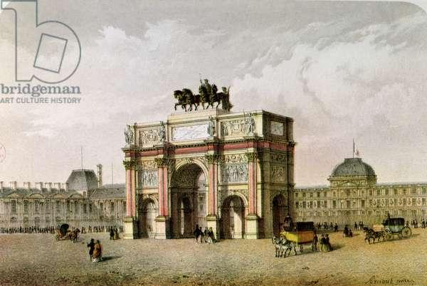 Postcard of the Arc de Triomphe du Carrousel, Paris (colour litho)
