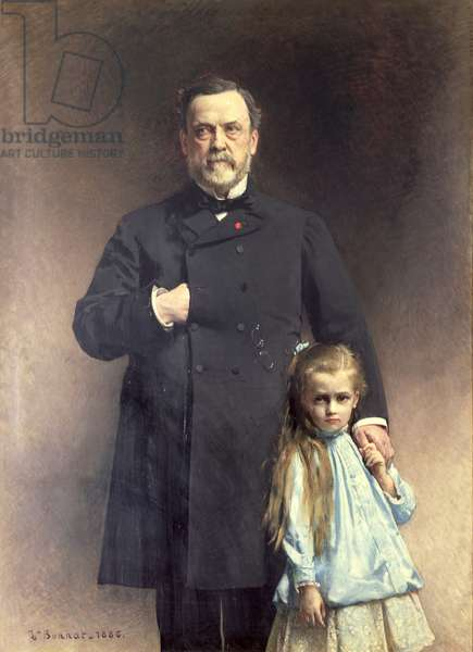 Louis Pasteur (1822-95) and his Grand-daughter, Camille Vallery-Radot (1880-1927) 1886 (oil on canvas)