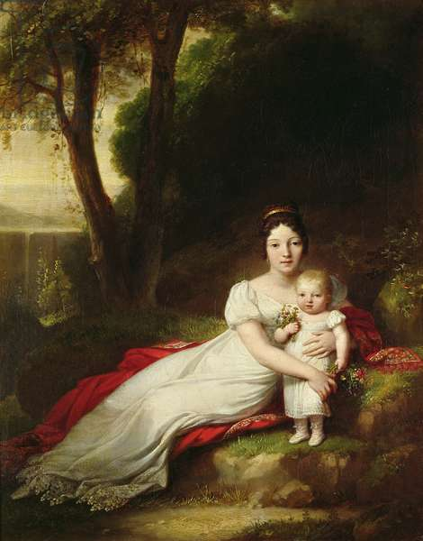 Hortense Eugenie de Beauharnais (1783-1837), Queen of Holland, with her son Charles Louis Napoleon Bonaparte (1808-73), the future Napoleon III (oil on canvas)