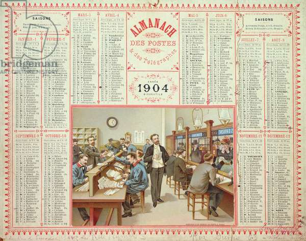 Calendar for 1904, with an illustration of the interior of a post office, c.1903 (colour litho)