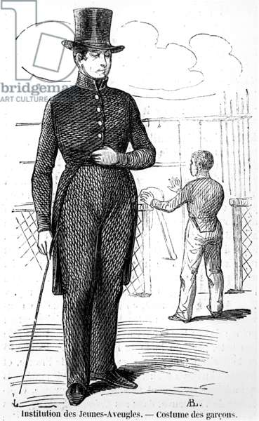 Costume for Boys at the Institute for the Young Blind, in 'Tableau de Paris' by Edmond Texier, published in 1852 (engraving) (b/w photo)