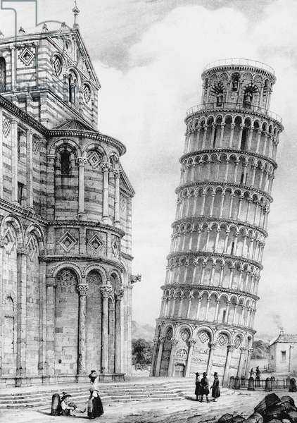 The Tower and the Cathedral of Pisa (engraving)