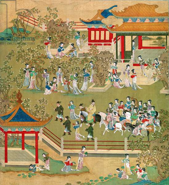 Emperor Yang Ti (581-618) strolling in his gardens with his wives, from a history of Chinese emperors (colour on silk) (see also 176855)