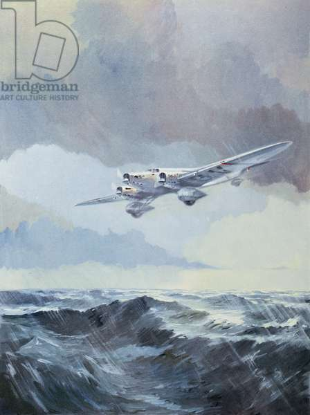 The 'Arc-en-Ciel' flown by Jean Mermoz (1901-36) crossing the South Atlantic, illustration from 'L'Histoire de l'Aviation' by Rene Chambe (1889-1983), 1948 (colour litho)