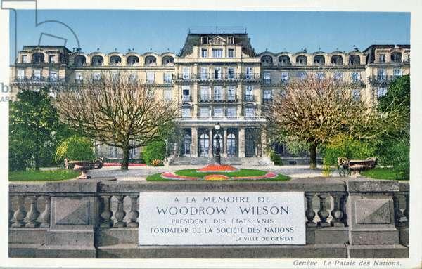 Postcard of the Palais des Nations at Geneva, postcard c.1924 (colour litho)