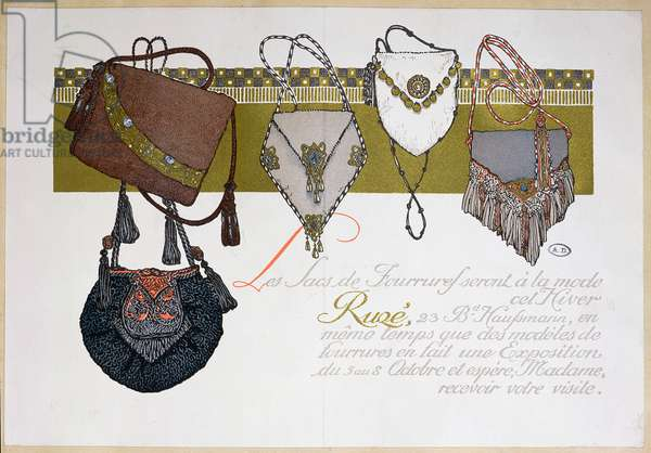 Advertisement for 'Ruge' fur bags, c.1910 (colour litho)