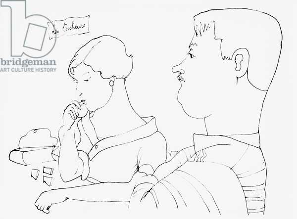 Georges Auric (1899-1983) and Valentine Hugo (1890-1968) (pen & ink on paper) (b/w photo)