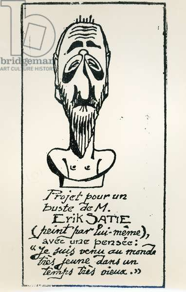 Self Portrait, early 20th century (pen and ink on paper) (b/w photo)