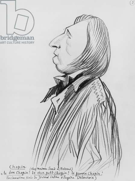 Caricature of Frederic Chopin 'at Madame Sand's place in Nohant', early 20th century (pencil on paper) (b/w photo)