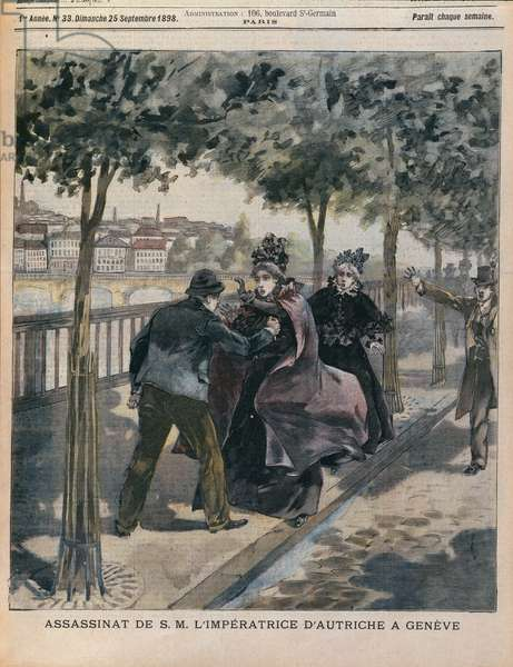 The Assassination of Elizabeth (1837-98) Empress of Austria in Geneva, front cover of 'L'Annee Illustree', 25th September 1898 (colour engraving)