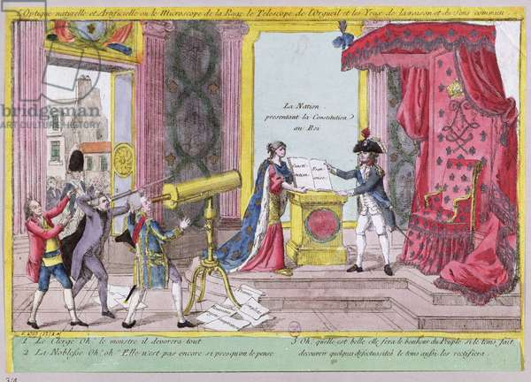 'The Microscope of Rage, the Telescope of Pride and the Eyes of Reason and Common Sense', caricature of the reaction of the nobility and clergy to the French Constitution, c.1791 (coloured engraving)