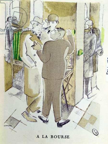'At the Bourse', illustration from 'La Gazette du Bon Ton', 1925 (colour litho)