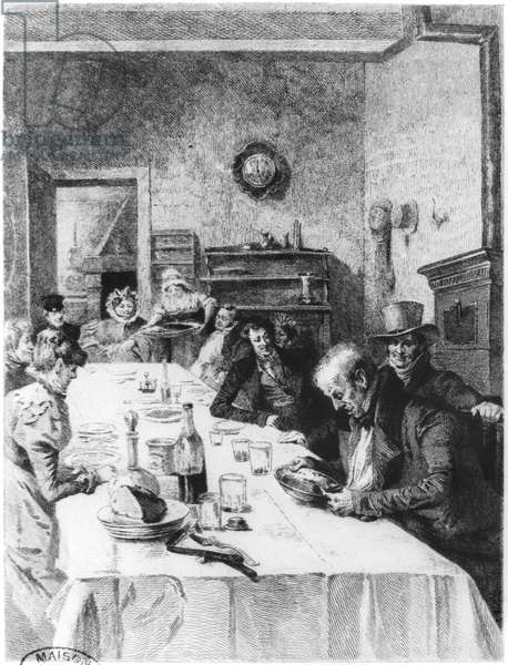 The Vauquer Boarding House, illustration from 'Le Pere Goriot' by Honore de Balzac (1799-1850) 1900 (engraving) (b/w photo)